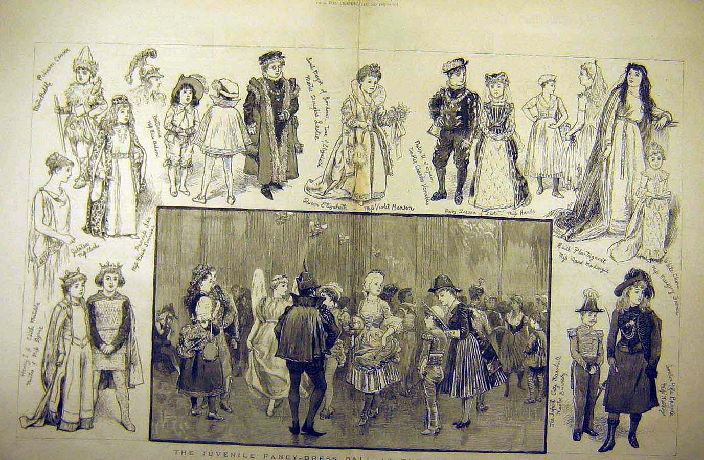 Print 1887 Juvenile Fancy-Dress Children Ball Mansion House 03Tddd0 Old Original