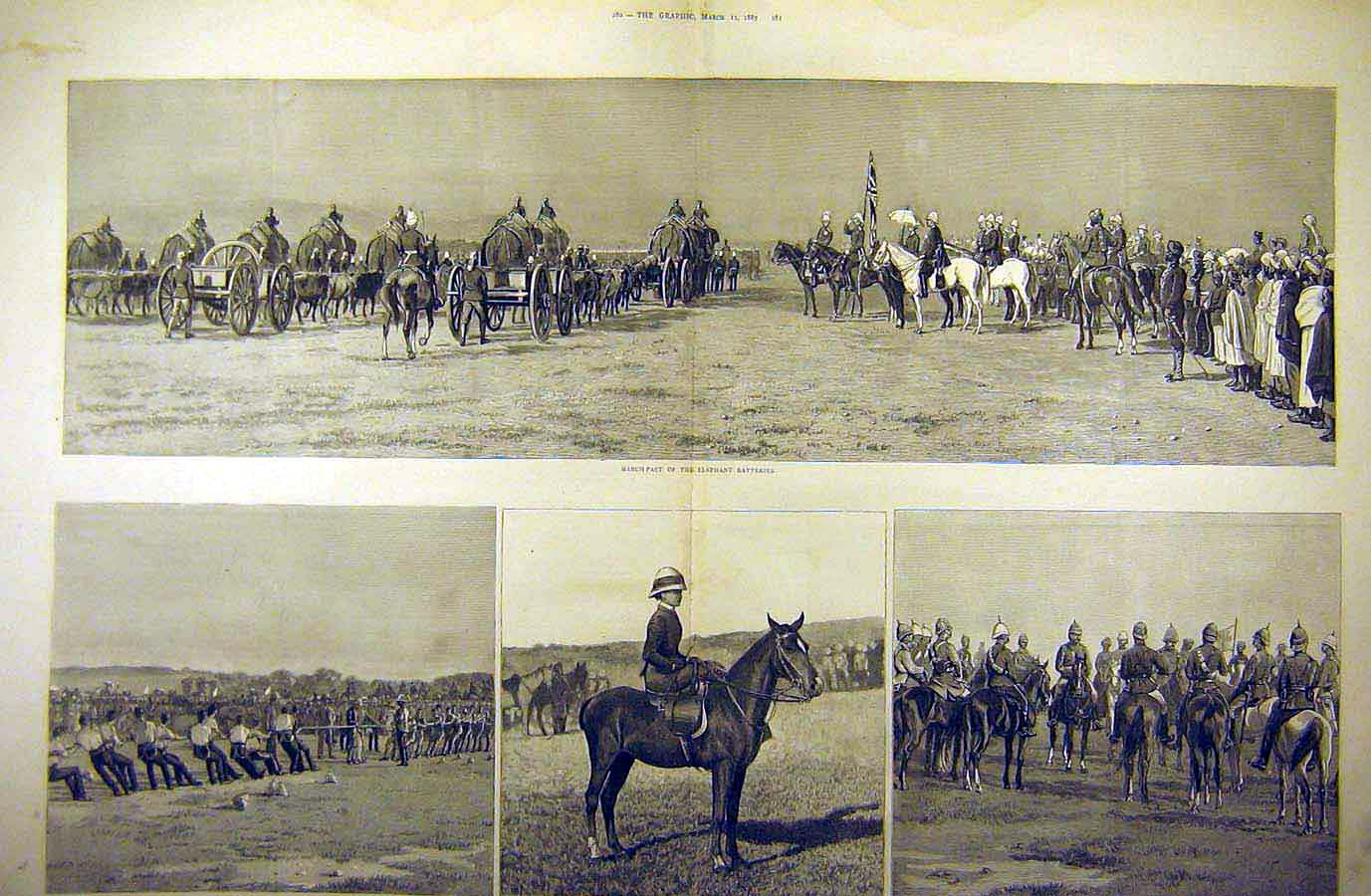 Print 1887 Review Military Duke Connaught Indore Bengal India 10Tddd0 Old Original