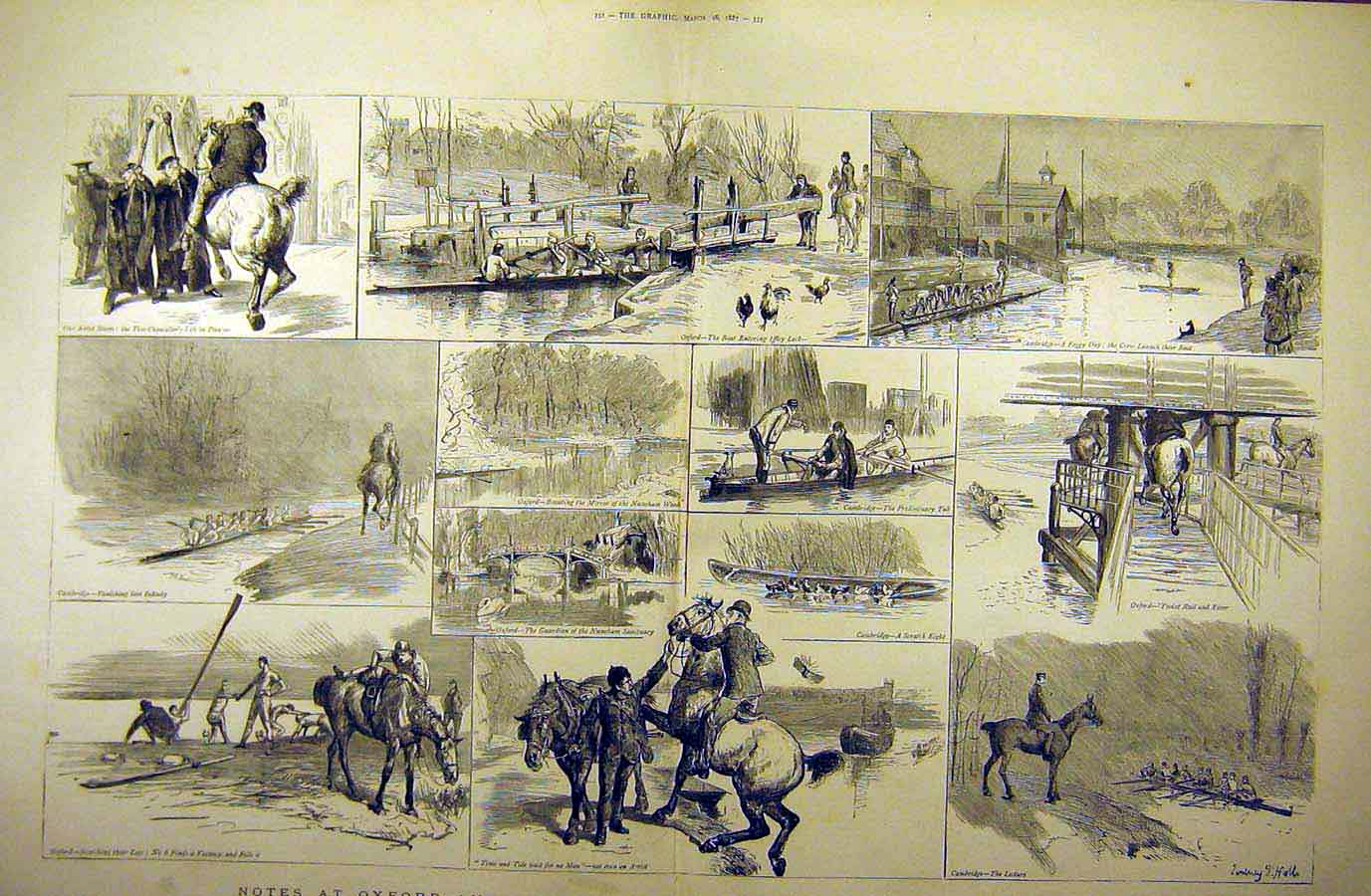 Print 1887 Oxford Cambridge Boat-Crew Training Sketches 11Tddd0 Old Original