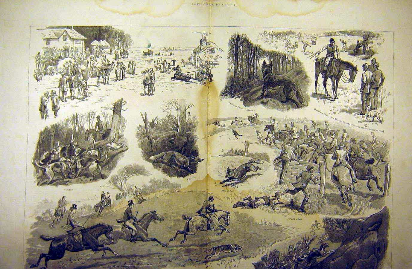 Print 1887 Fox-Hunt Holiday Season Sketches Hunting Hounds 26Tddd0 Old Original