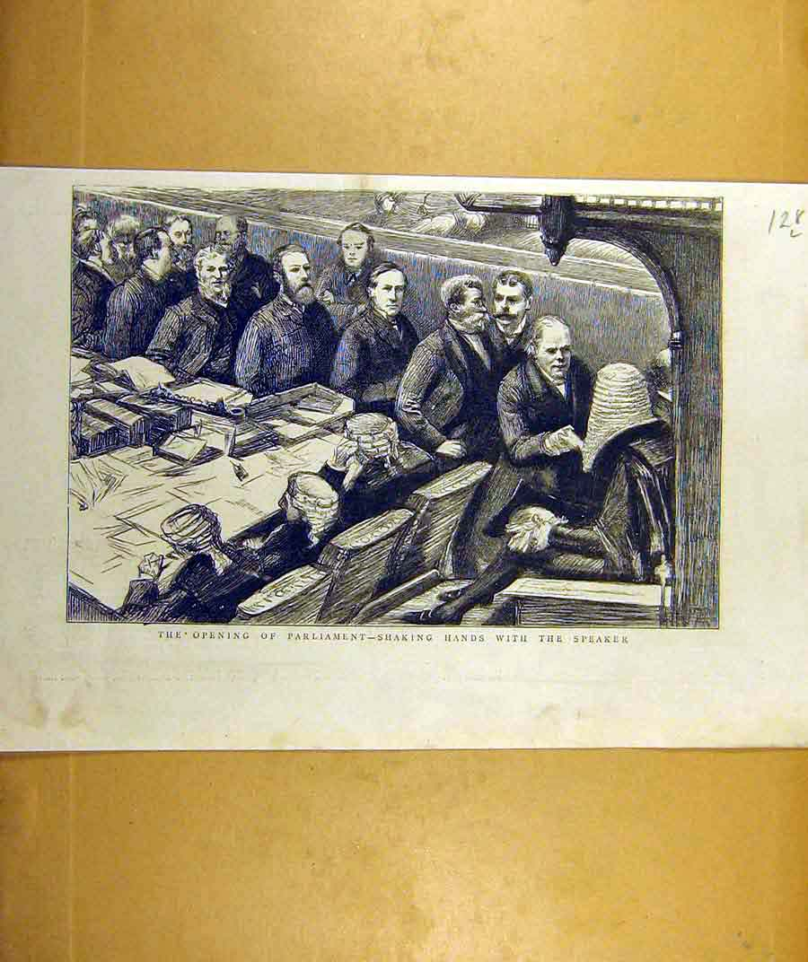 Print 1887 Parliament Opening Shaking-Hands Speaker 28Lddd0 Old Original