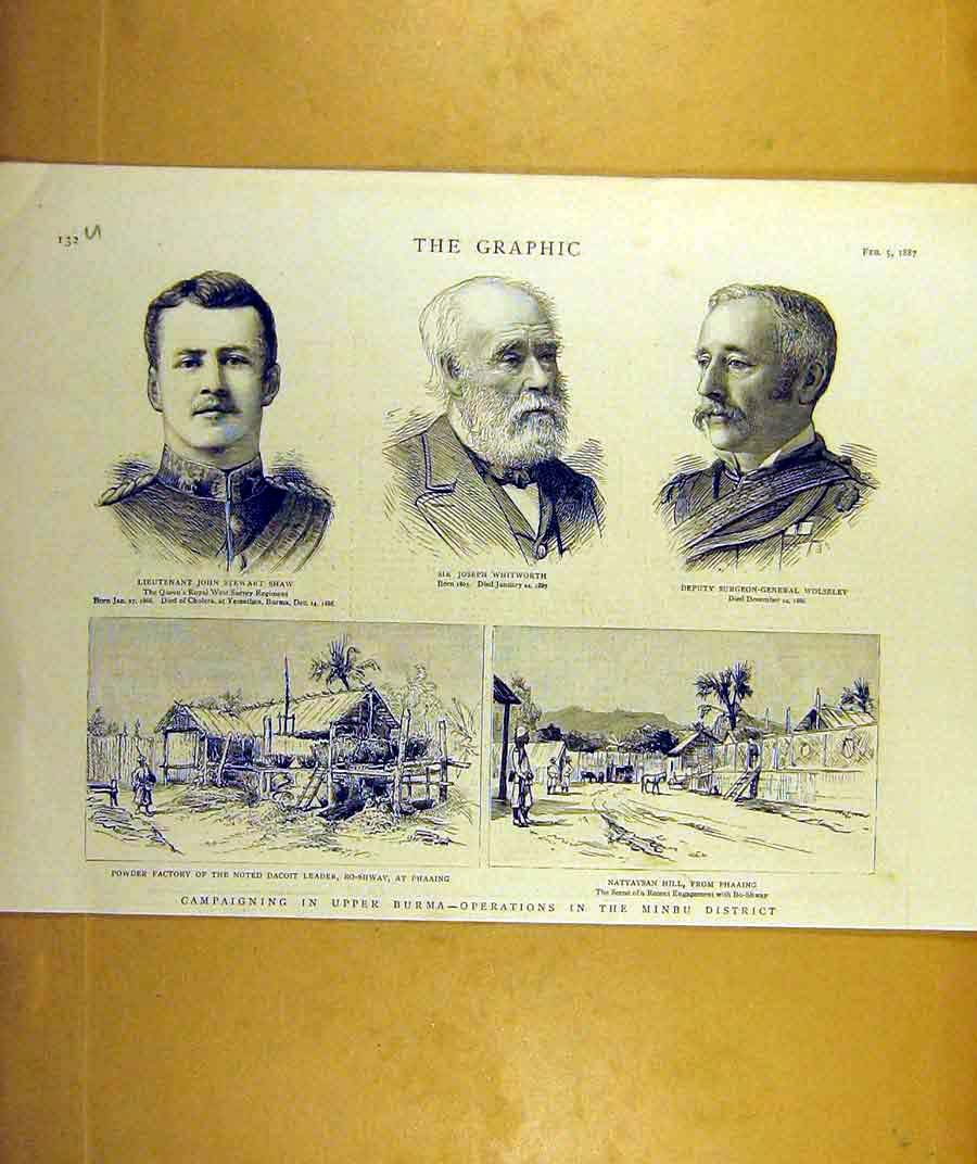 Print 1887 Shaw Whitworth Wolseley Upper Burma Campaign 32Uddd0 Old Original