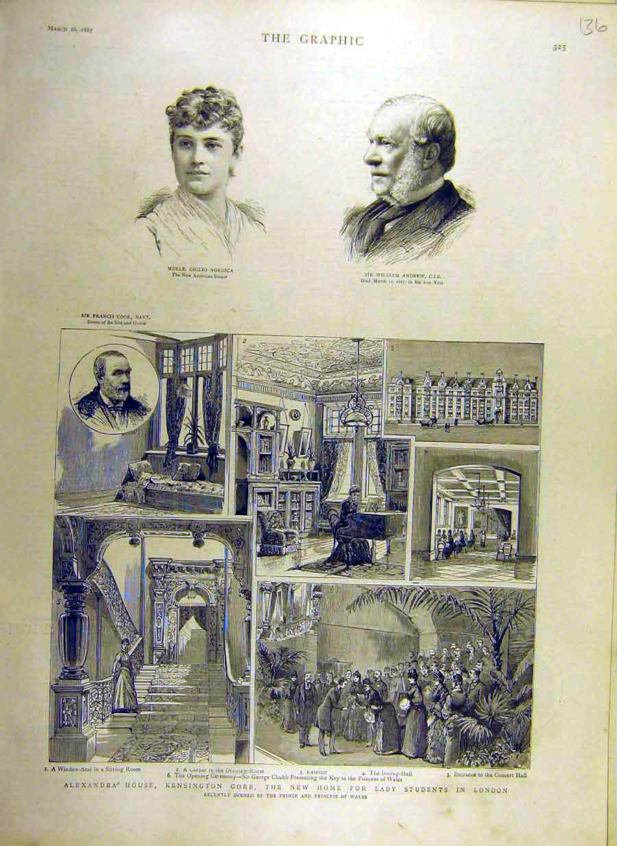 Print 1887 Alexandra House Kensington Students London Nordica 36Ddd0 Old Original