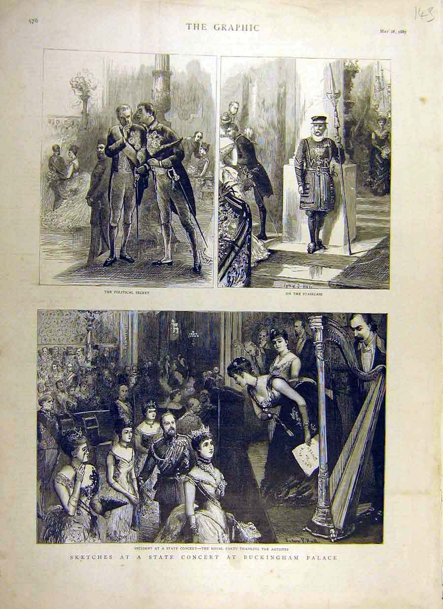 Print 1887 State-Concert Buckingham Palace Royal Party Artist 43Ddd0 Old Original
