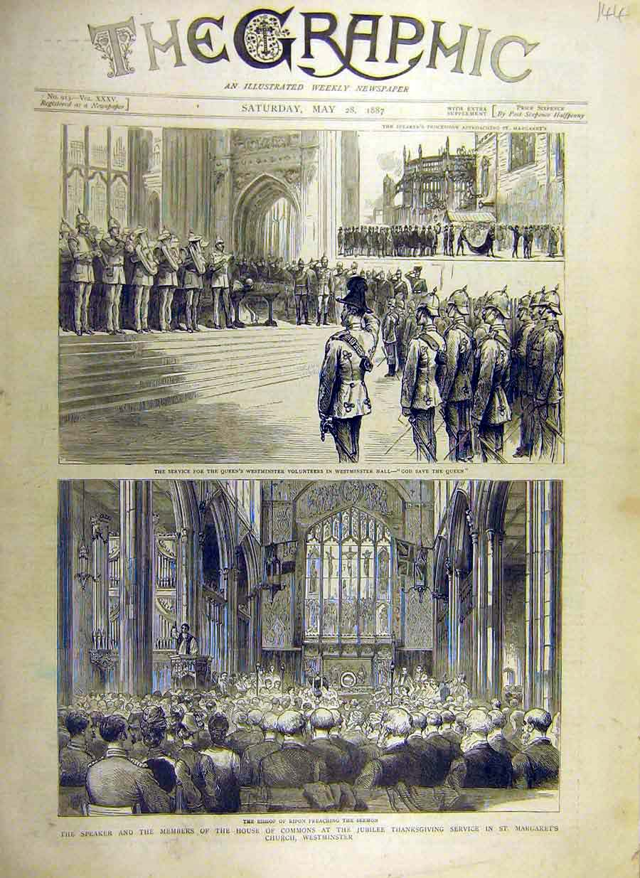 Print 1887 Speaker House Commons Westminster Church 44Ddd0 Old Original