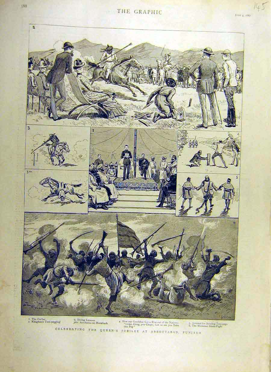 Print 1887 Queen Jubilee Abbottabad Punjaub India 45Ddd0 Old Original