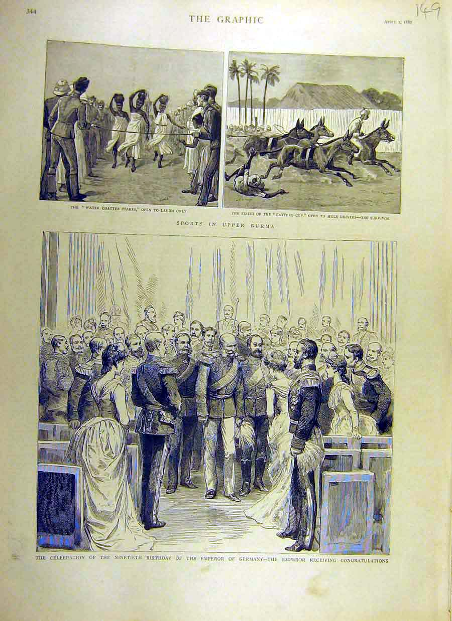 Print 1887 Burma Sport Mules Ladies Emperor Germany Birthday 49Ddd0 Old Original