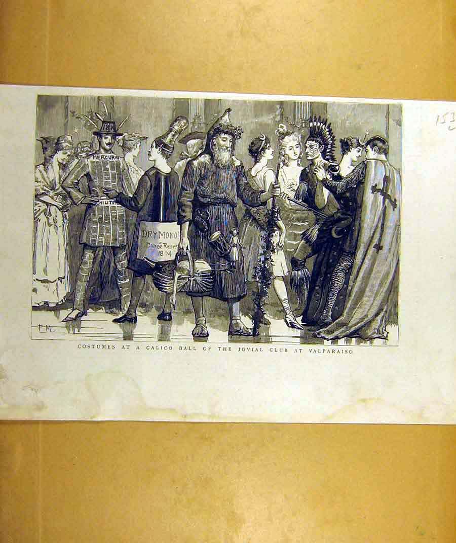Print 1887 Costumes Calico Ball Jovial Club Valparaiso 53Lddd0 Old Original
