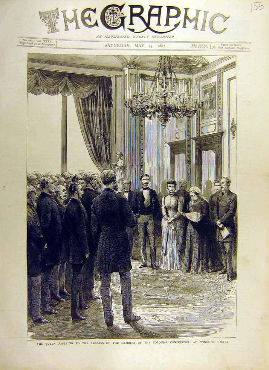 [Print 1887 Queen Address Members Colonial Conference Windsor 56Ddd0 Old Original]