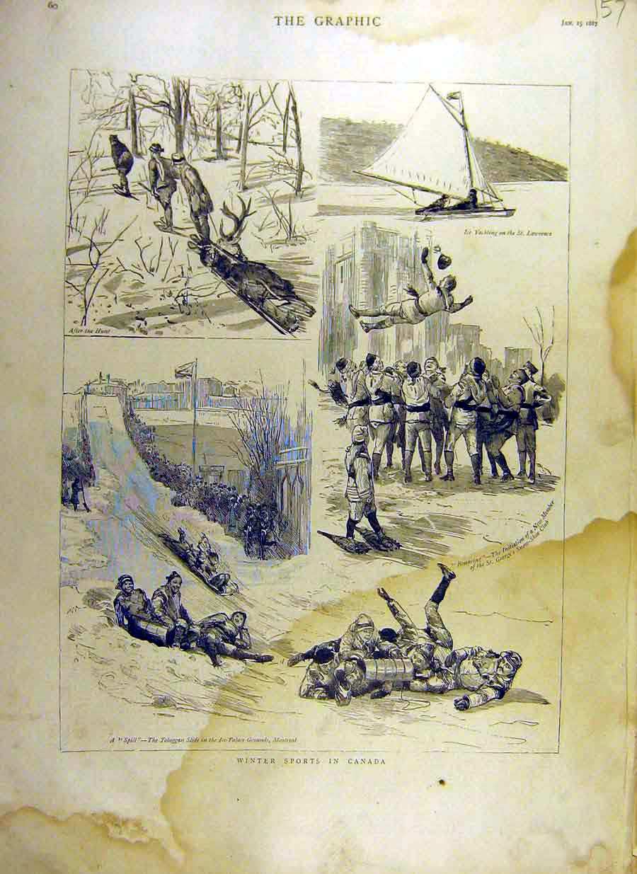 Print 1887 Winter-Sports Canada Sledging Bouncing Yachting 57Ddd0 Old Original