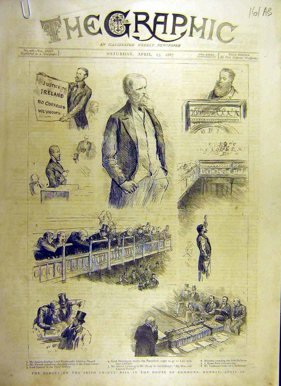 [Print 1887 Irish Crimes Debate House Commons Burma Campaign 61Addd0 Old Original]