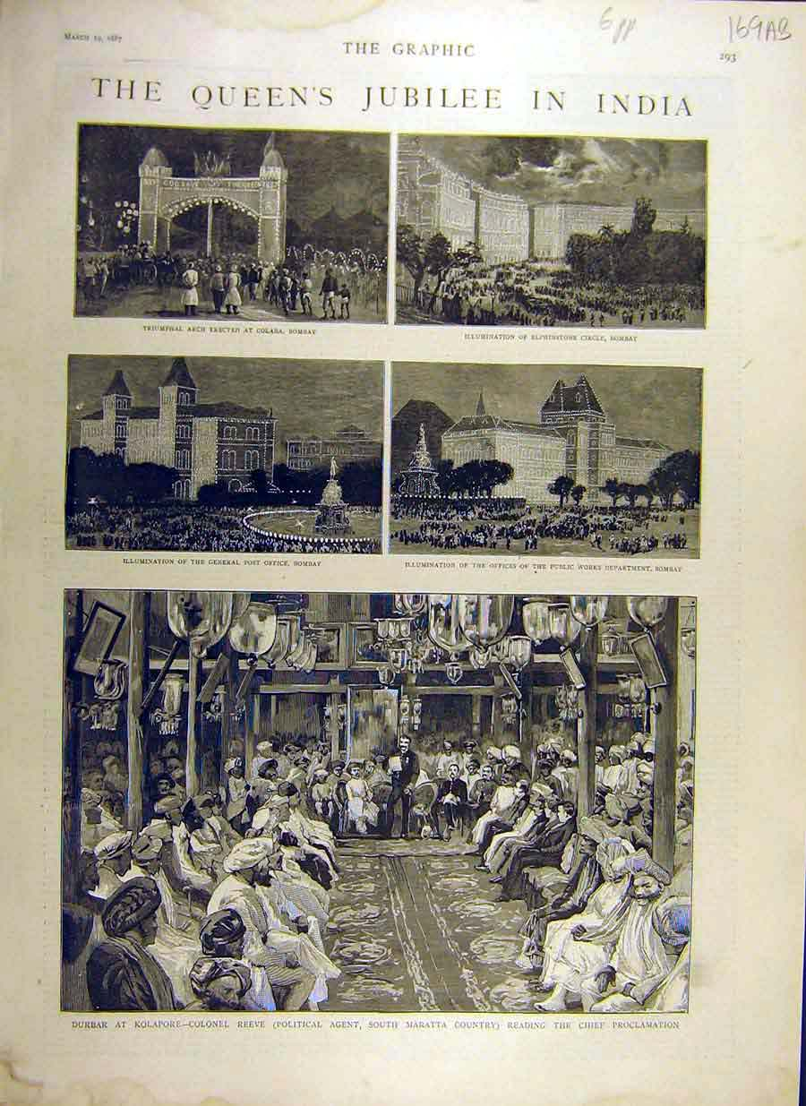 [Print 1887 Queen Jubilee India Bombay Sketches Durbar 69Addd0 Old Original]