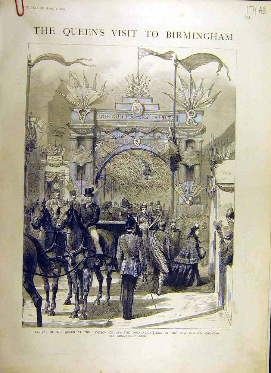 [Print 1887 Queen Birmingham Royal Visit Victoria-Courts 71Addd0 Old Original]