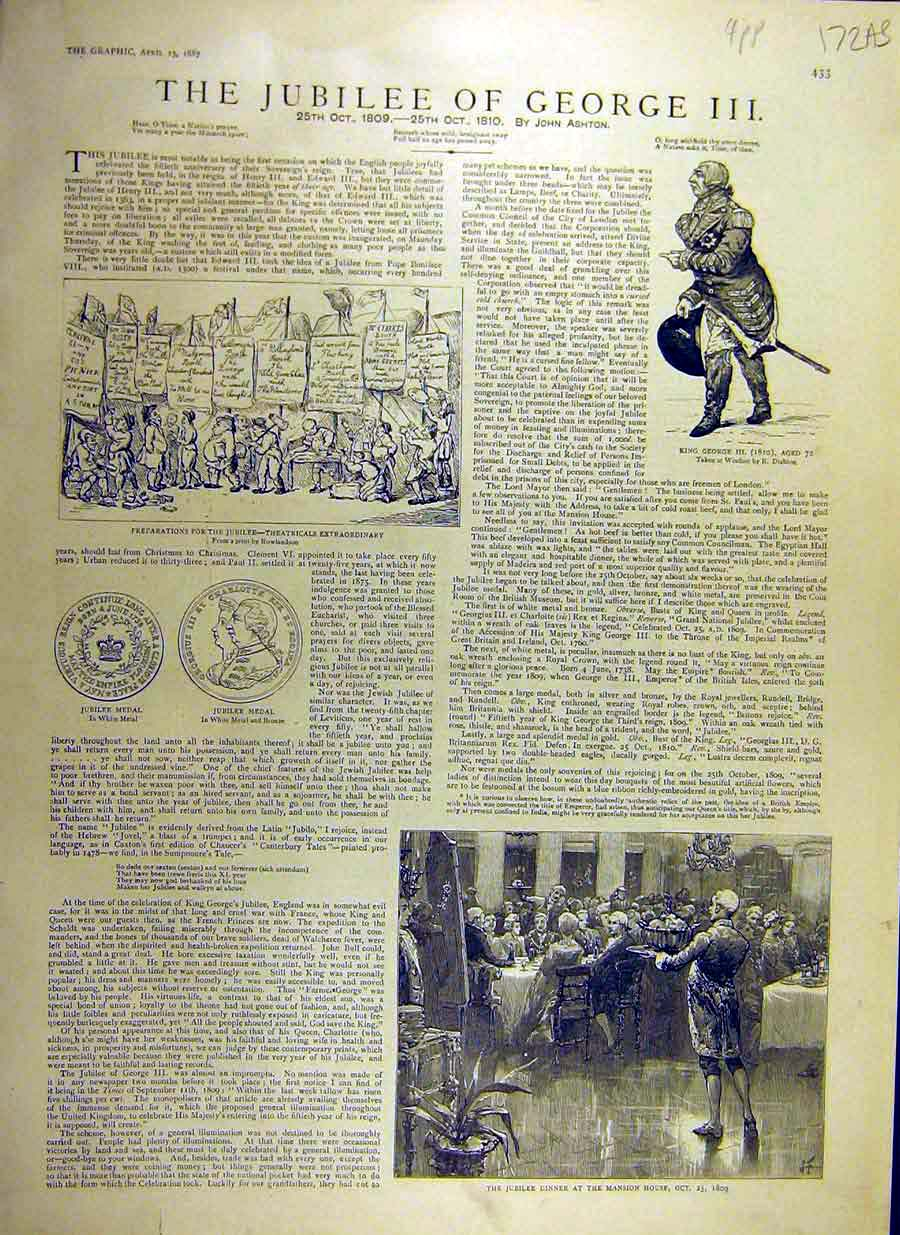 Print 1887 Jubilee King George-Iii Mansion Windsor Medal 72Addd0 Old Original