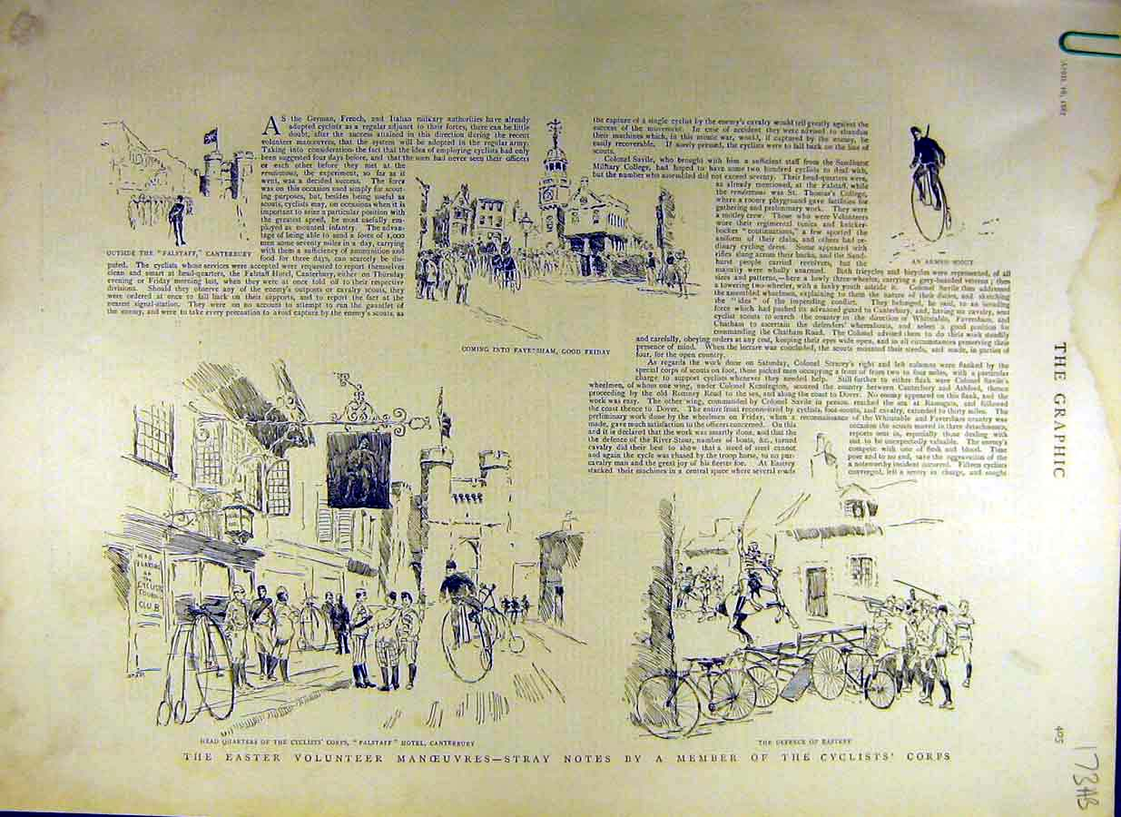 [Print 1887 Easter-Volunteer Manoeuvres Cyclist Corps Military 73Addd0 Old Original]