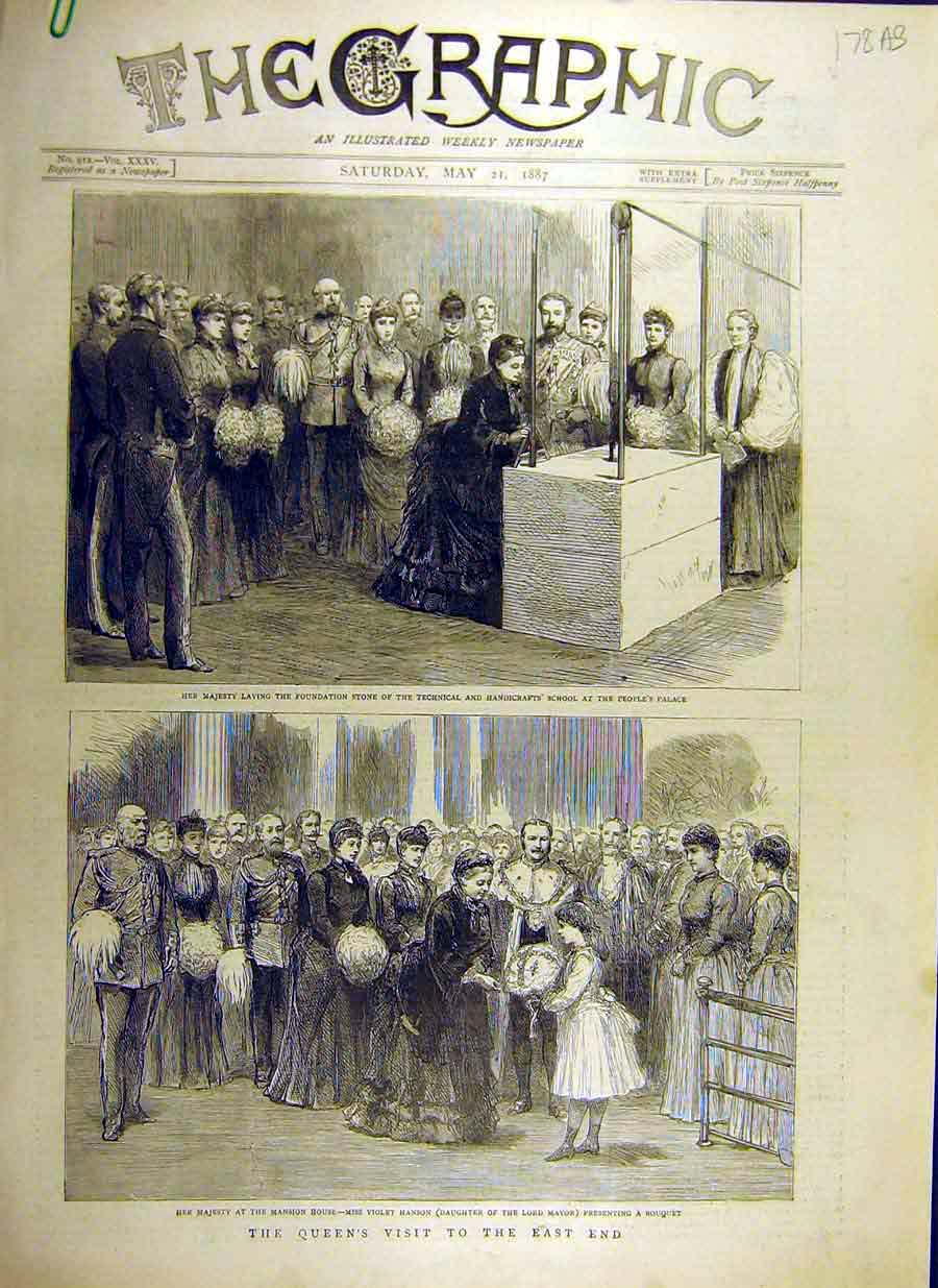 [Print 1887 Queen Royal Visit East-End Cheapside Holborn 78Addd0 Old Original]