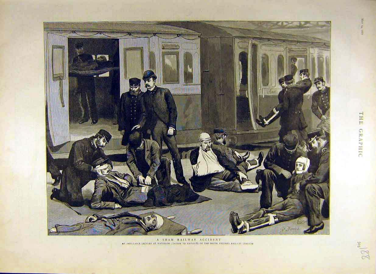 Print 1887 Sham Railway Accident Ambulance Lecture Waterloo 88Ddd0 Old Original