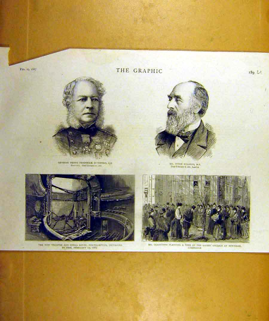 Print 1887 Dunsford Rylands Theatre Opera House Gladstone 89Uddd0 Old Original