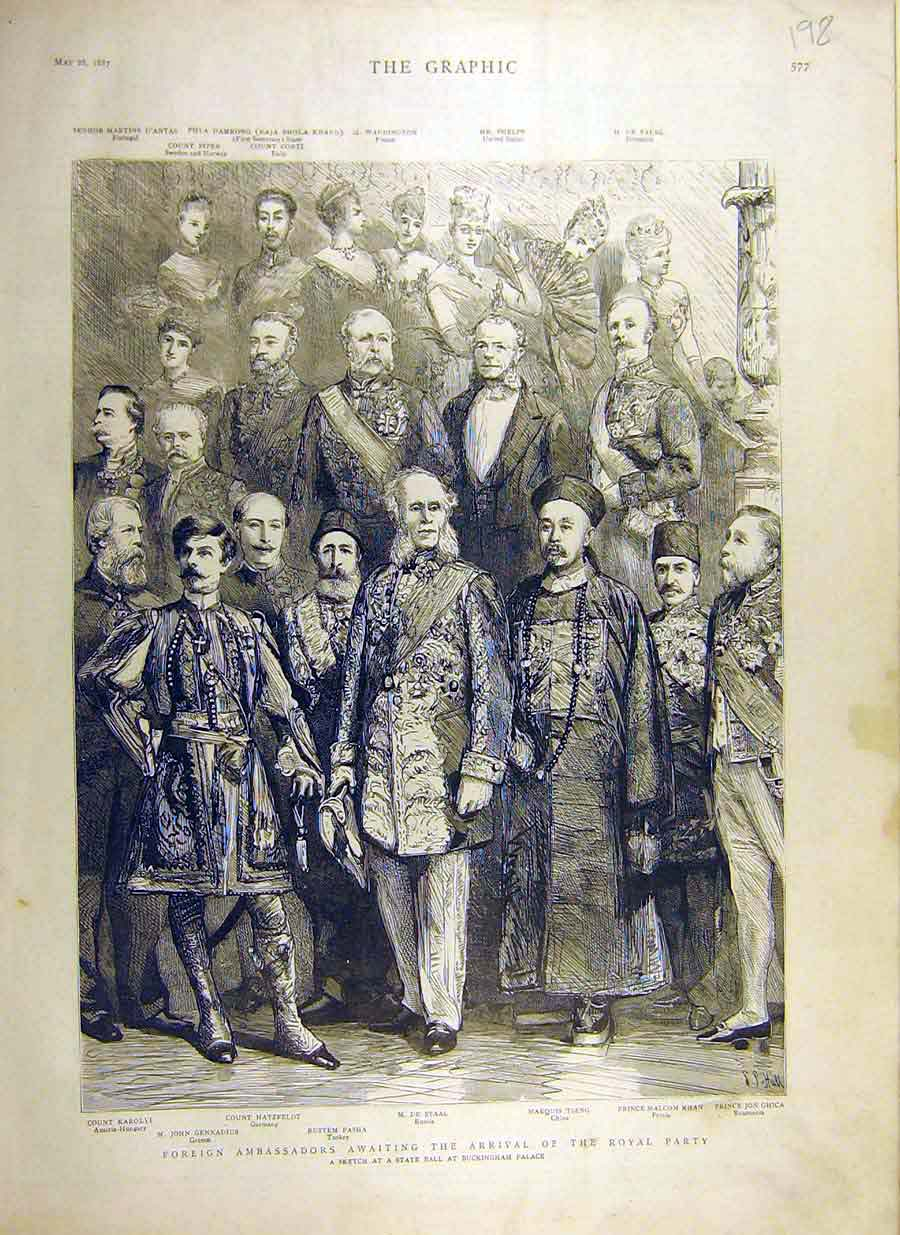 Print 1887 Royal Party Foreign Ambassadors Buckingham Palace 98Ddd0 Old Original