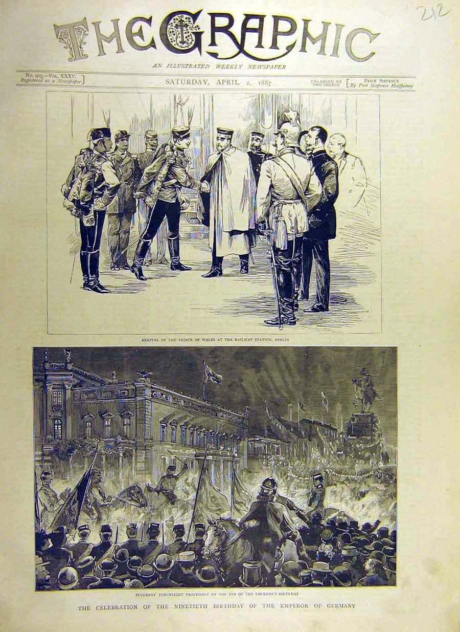 Print 1887 Emperor Germany Nintieth Birthdday Celebrations 12Ddd0 Old Original