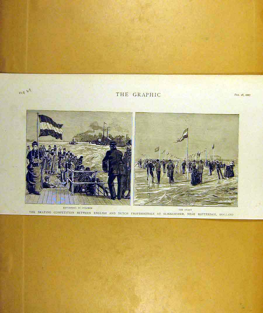 Print 1887 Ice-Skating Competition English Dutch Holland 16Uddd0 Old Original