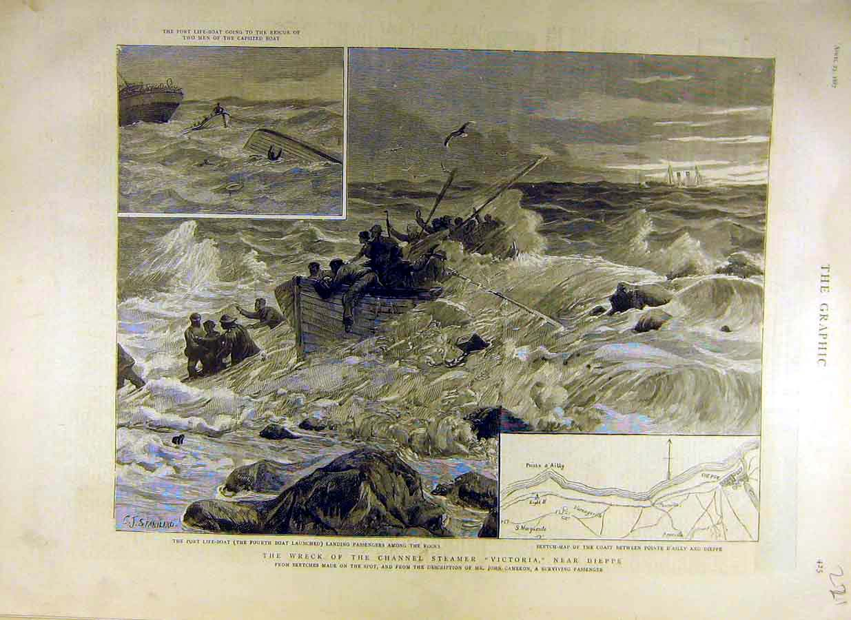 Print 1887 Wreck Channel Steamer Victoria Dieppe France 21Ddd0 Old Original