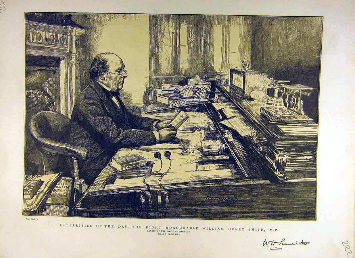 [Print 1887 William-Henry-Smith Portrait House Commons Leader 22Ddd0 Old Original]