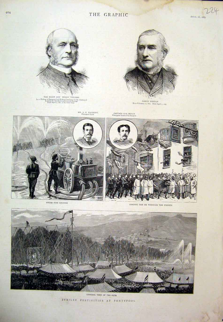 Print 1887 Titcomb Hindlip Pontypool Jubilee Fire-Engine 24Ddd0 Old Original