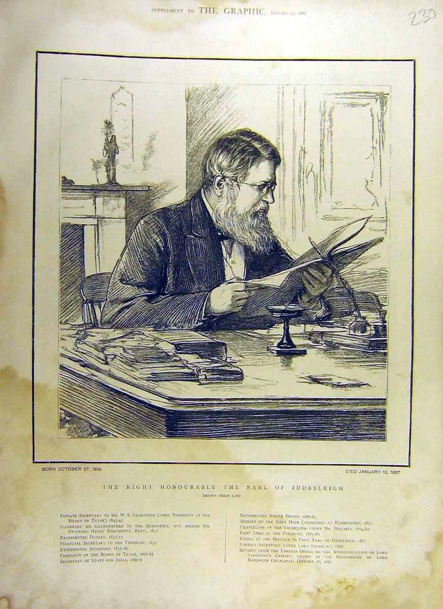 Print 1887 Portrait Earl Iddesleigh Private-Secretary 30Ddd0 Old Original