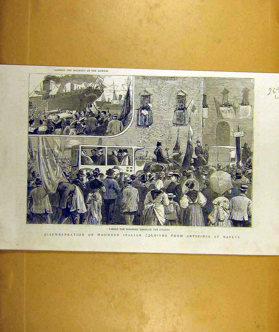 Print 1887 Wounded Italian Soldiers Abyssinia Naples 69Lddd0 Old Original