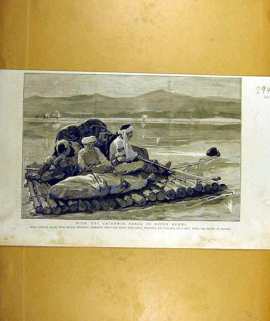 Print 1887 Chindwin Force Upper-Burma Singh Bengal Infantry 94Lddd0 Old Original