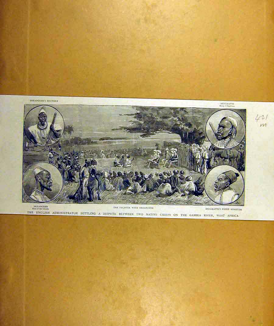 Print 1887 Gambia River Africa Chiefs English Administrator 21Mddd0 Old Original
