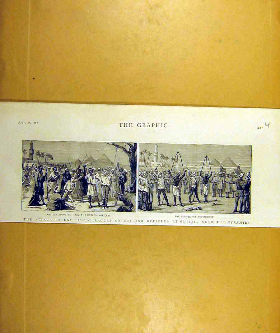 Print 1887 Egyptian Villagers English Officers Ghizeh Pyramid 21Uddd0 Old Original