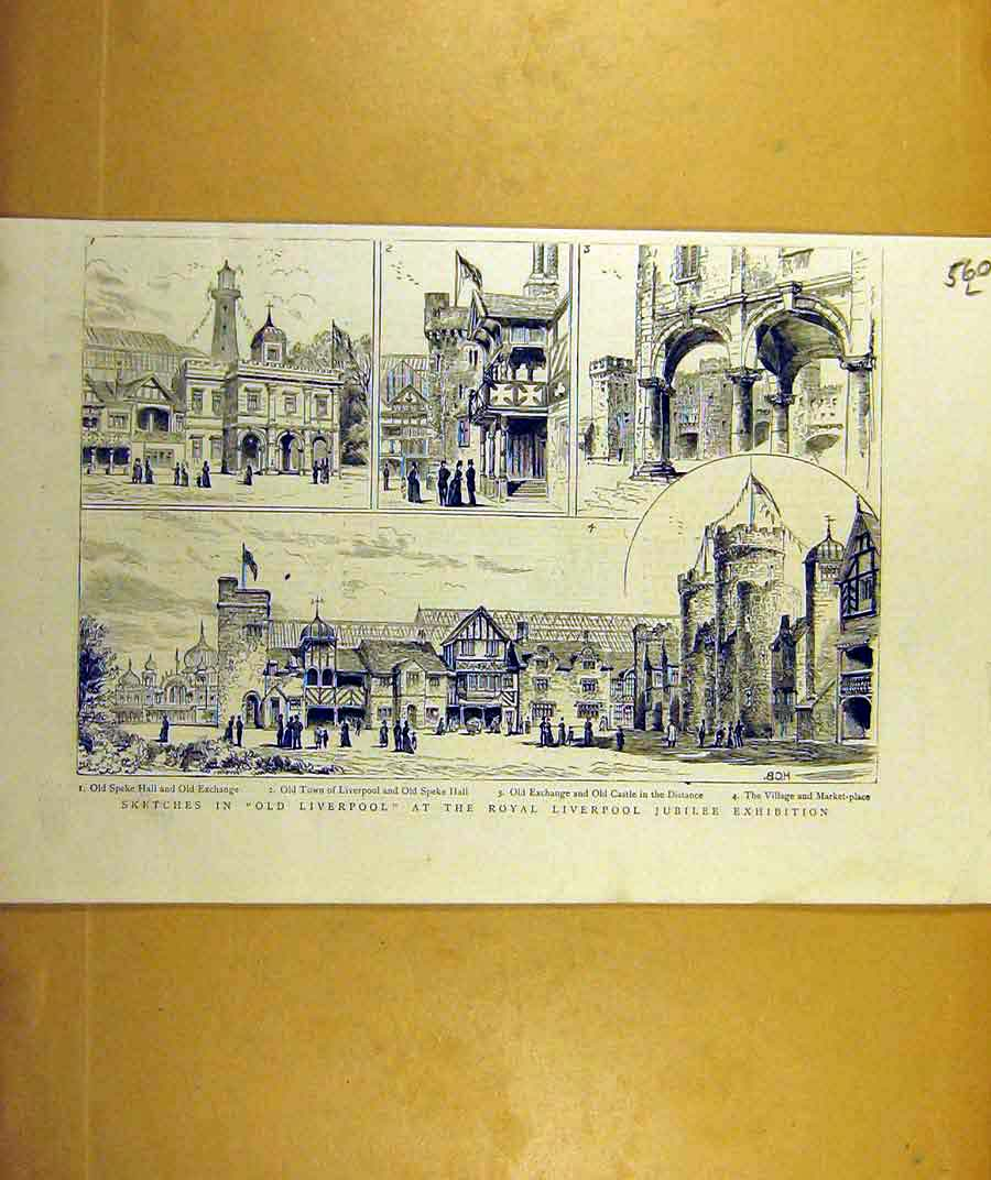 Print 1887 Sketches Liverpool Hall Exchange Village Market 60Lddd0 Old Original