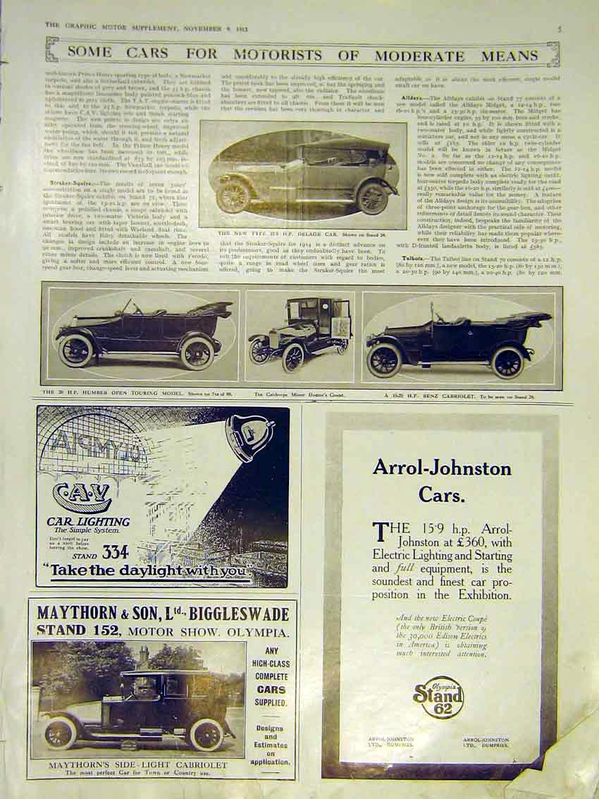 Print Motor Car Delage Humber Calthorpe Benz 1913 05Ddd0 Old Original