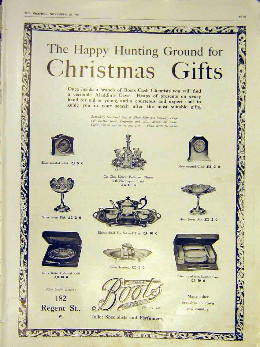 Print Advert Christmas Boots Silver Gifts Perfumes 1913 19Ddd0 Old Original