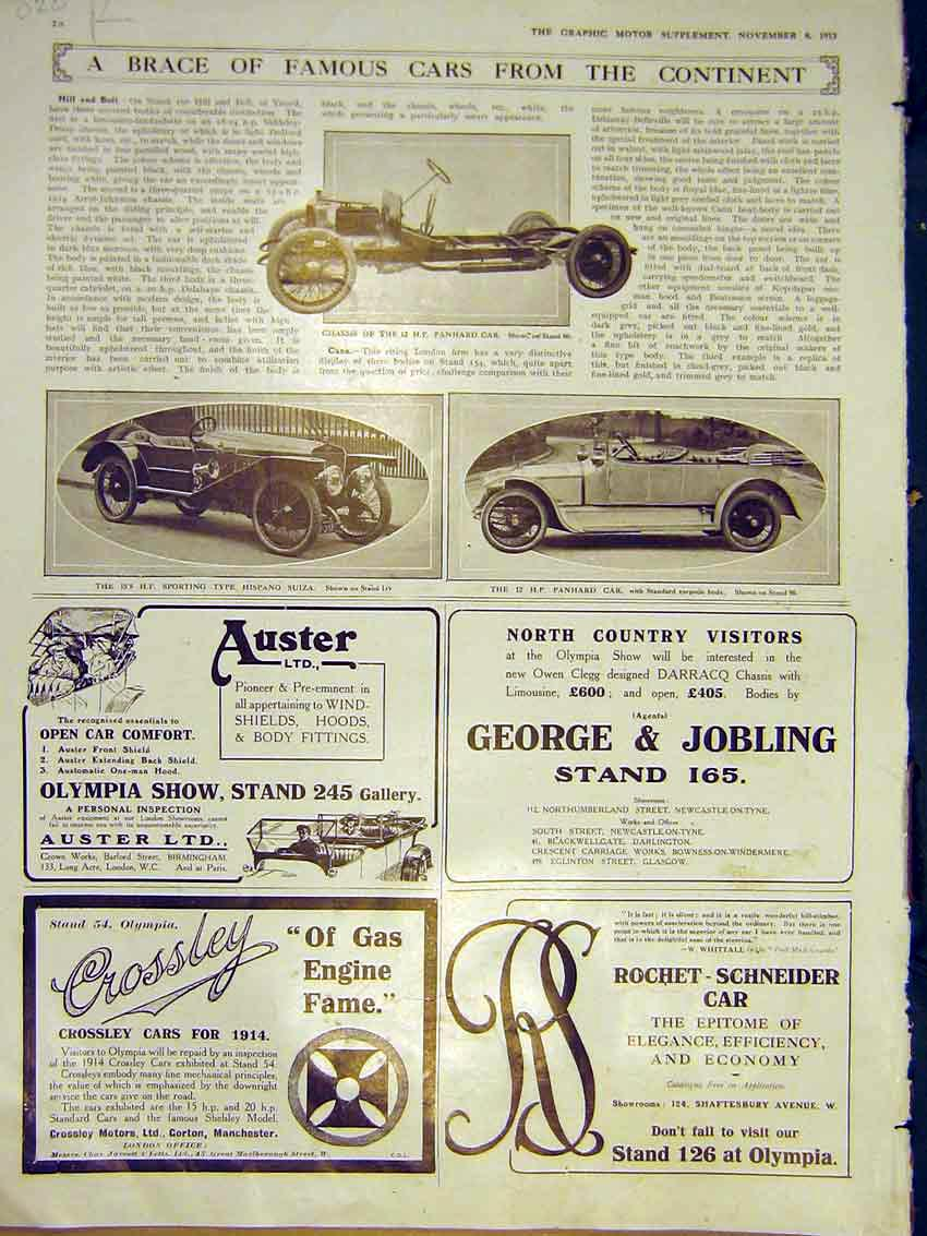 Print Motor Car Panhard Hispano Austin Advert Seabrook 1913 28Rddd0 Old Original