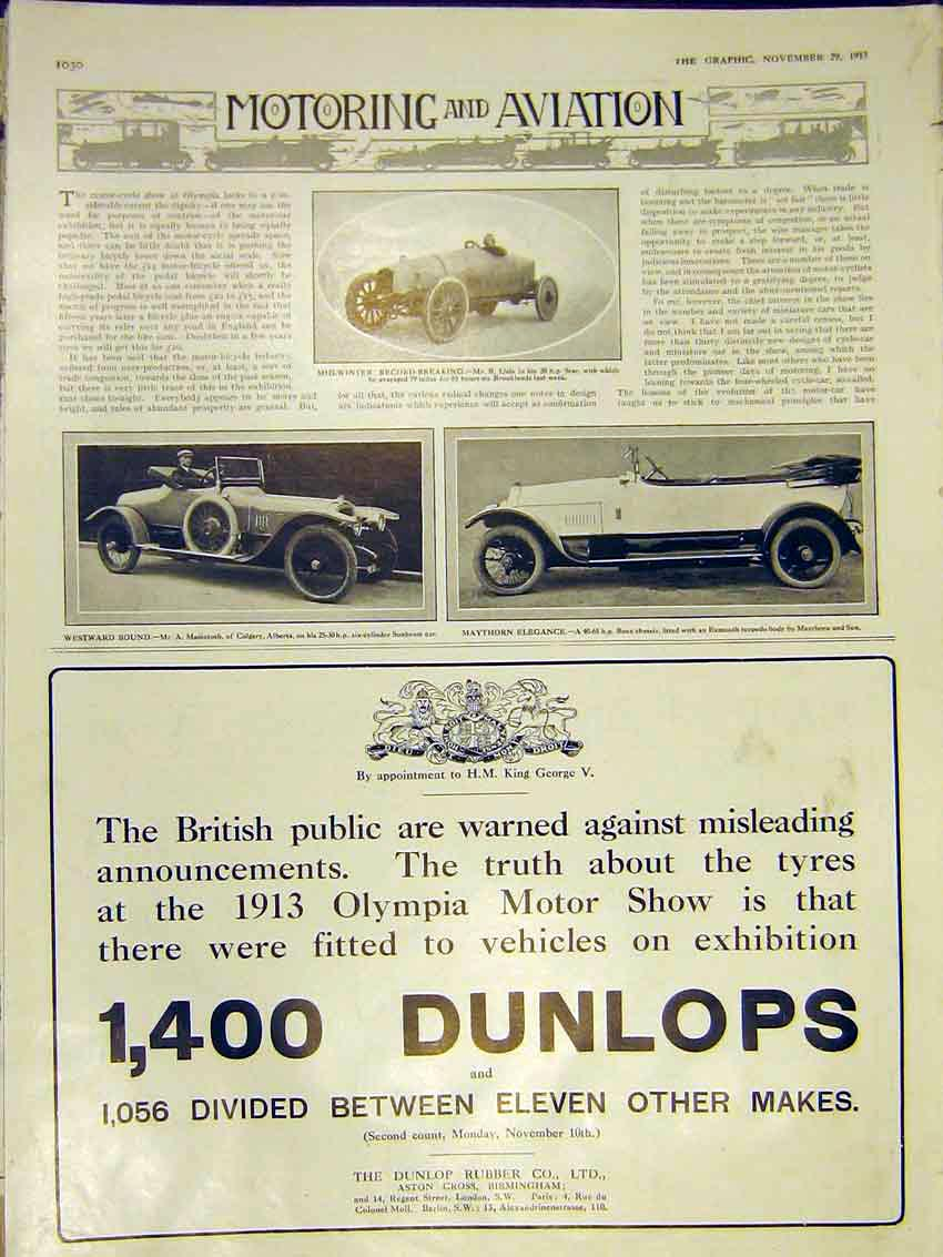 Print Motor Car Star Sunbeam Benz Dunlop 1913 30Ddd0 Old Original