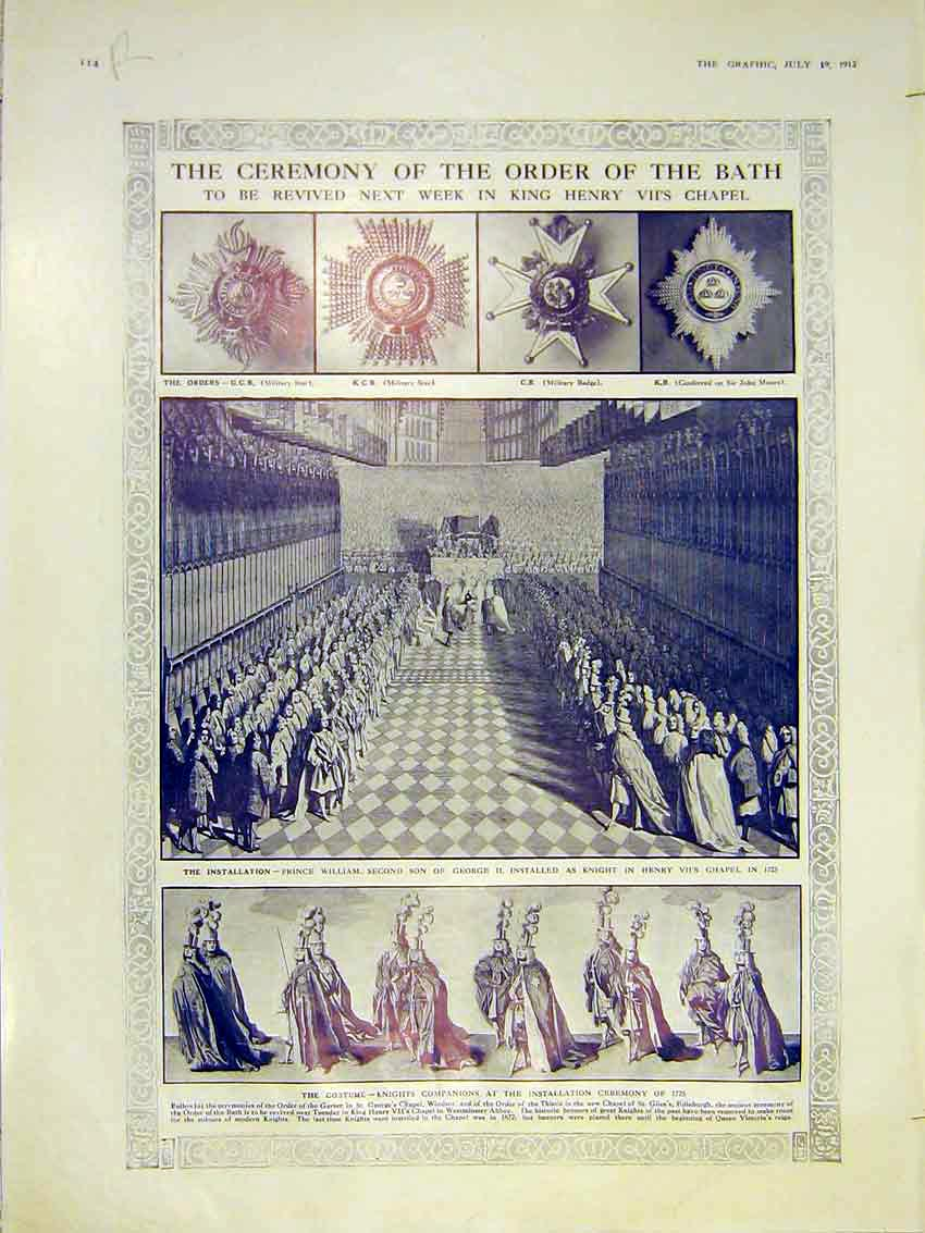 Print Ceremony Order Bath Costume Battle Ship Navy Guns 1913 14Rddd0 Old Original