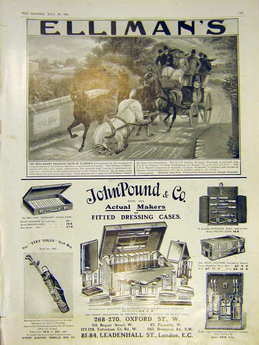 [Print Advert Ellimans Horse Carriage Accident Johnpound 1913 25Ddd0 Old Original]