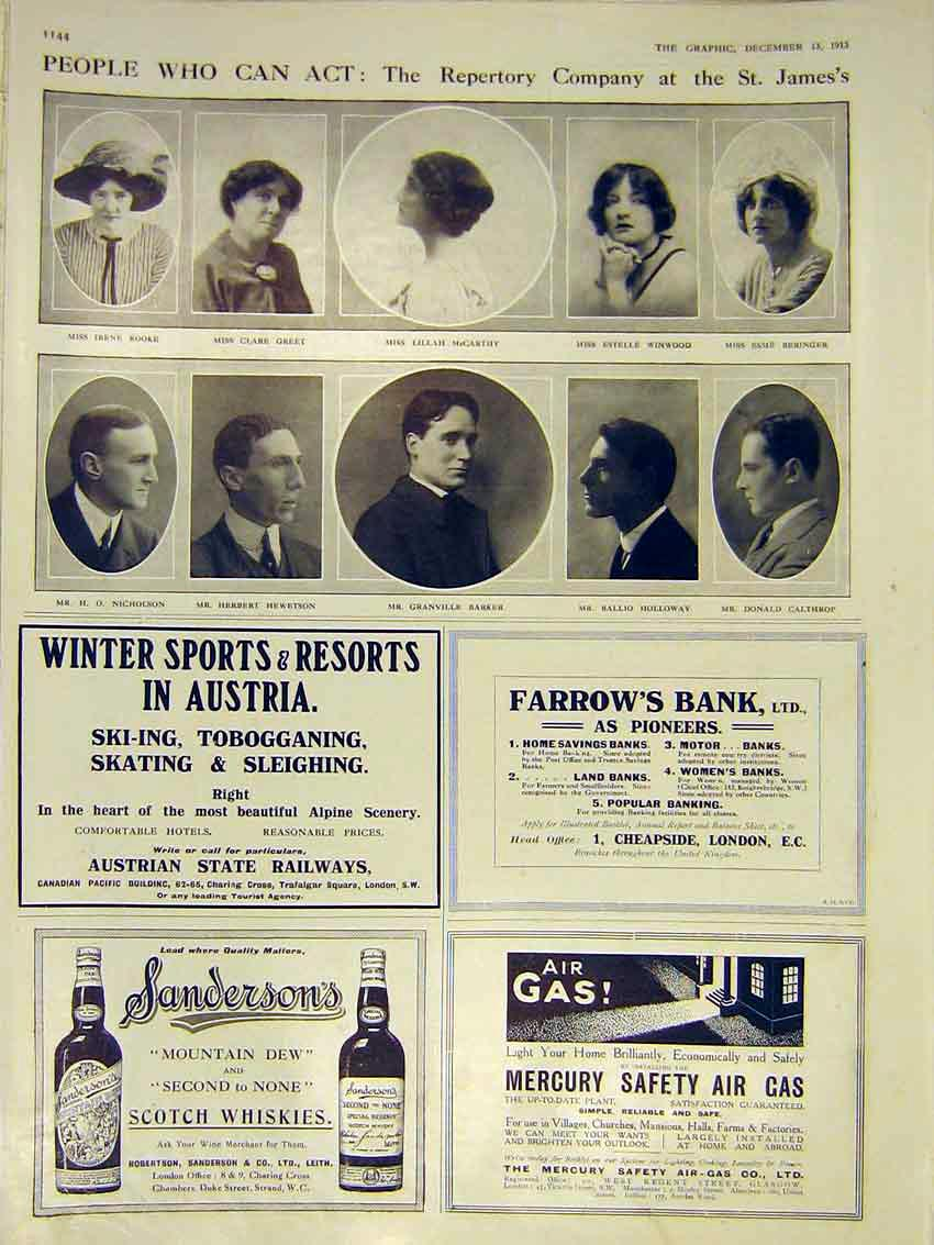 Print Portrait Actors St James Repertory Company 1913 44Ddd0 Old Original