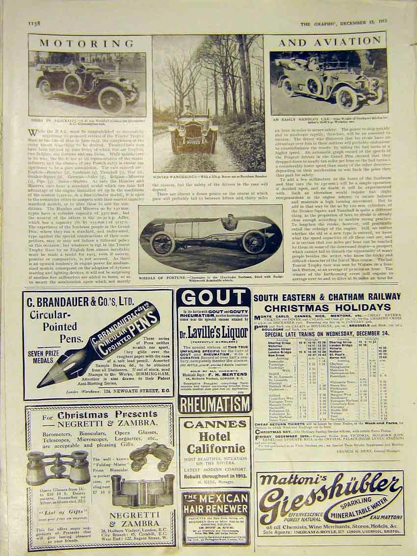 Print Motor Car Vauxhall Rover Wolseley Sunbeam 1913 58Ddd0 Old Original