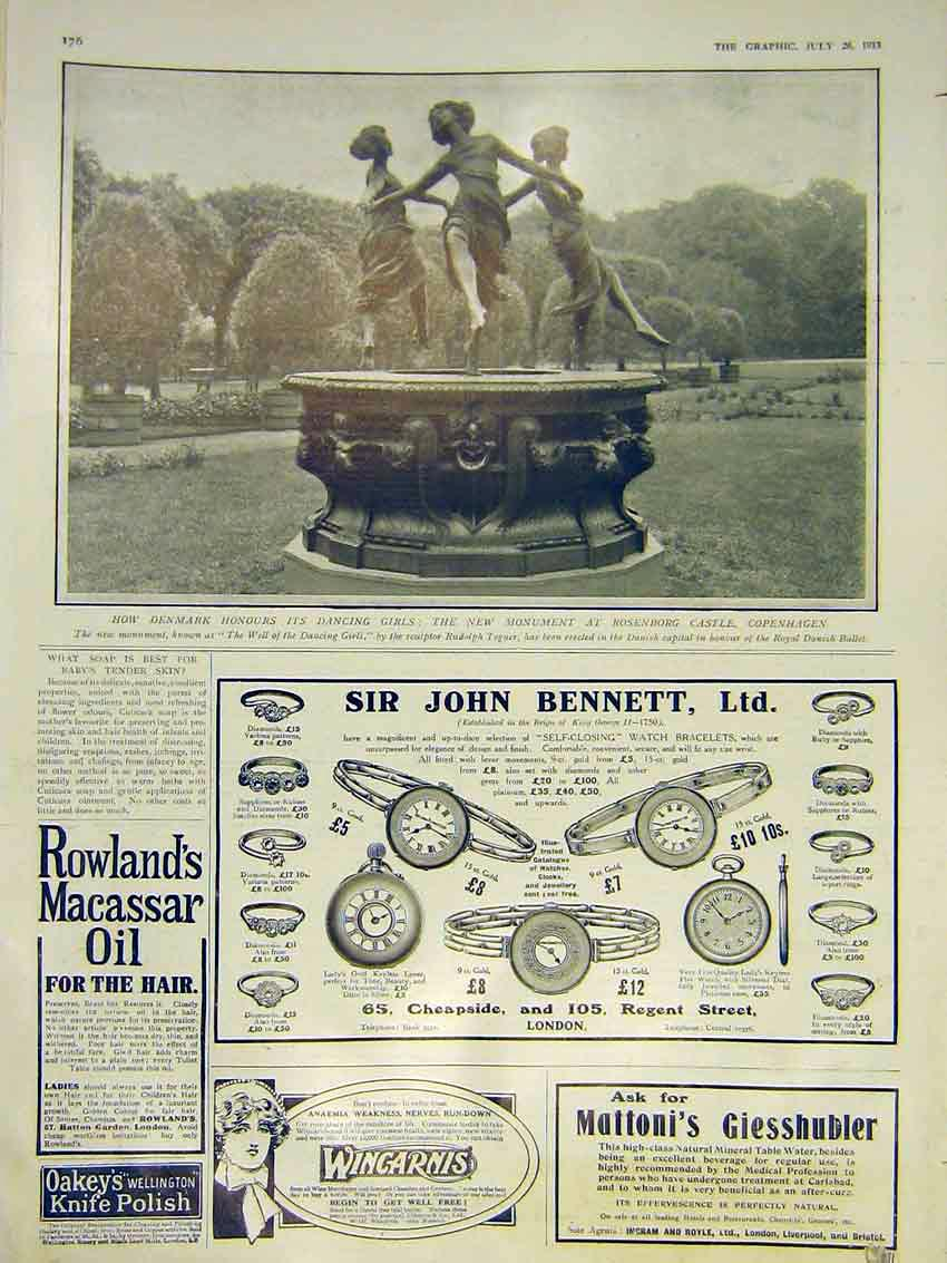 [Print Monument Denmark Dancing Girls Rosenberg Castle 1913 76Ddd0 Old Original]