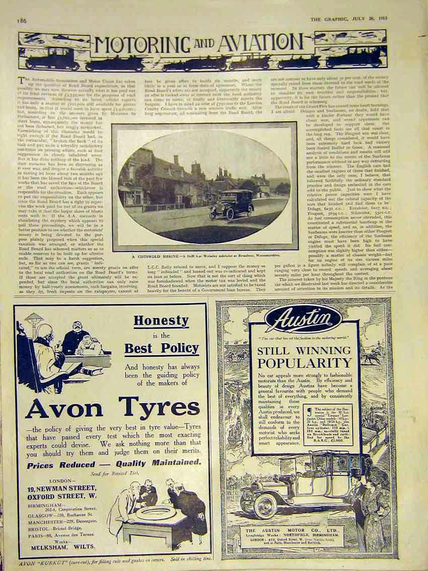 [Print Motor Car Wolseley Worcestershire Advert Avon 1913 86Ddd0 Old Original]
