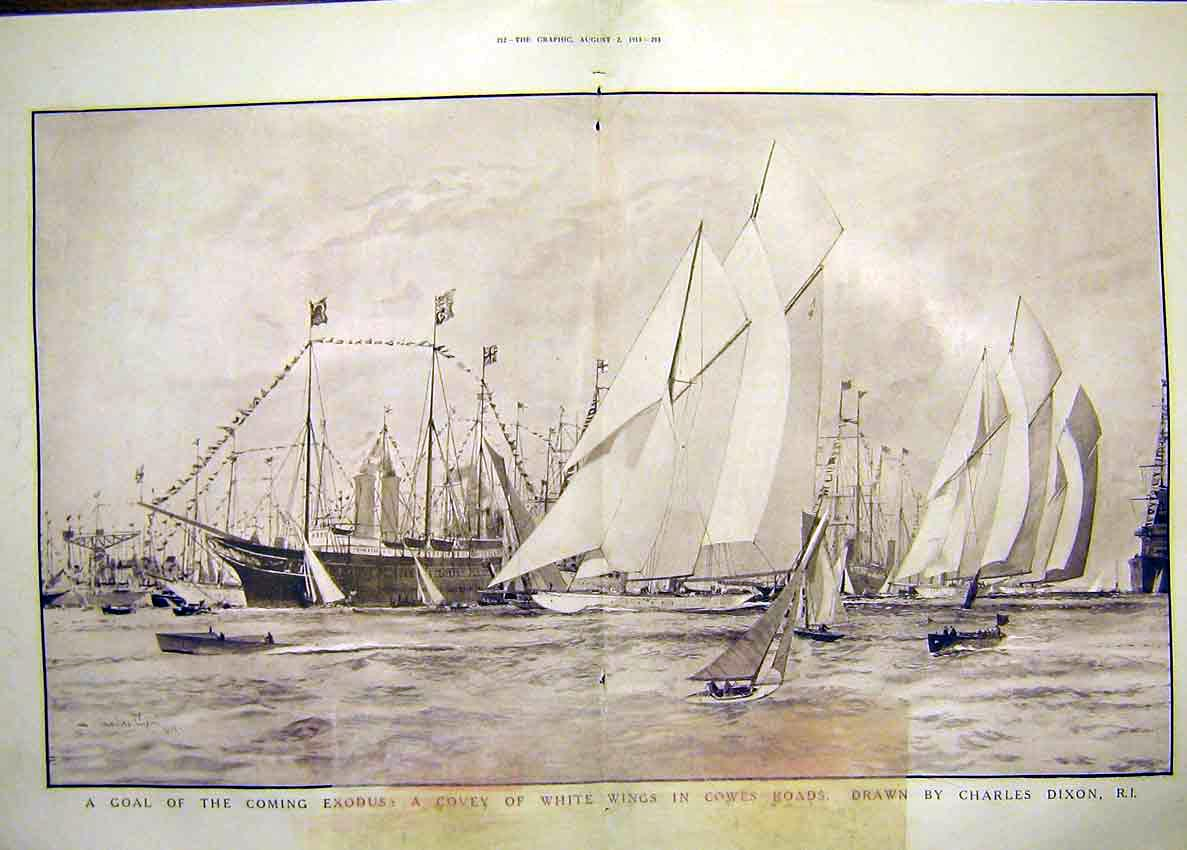 Print Yachting Cowes Race Dover Sea Theatre Stage Set 1913 11Tddd0 Old Original