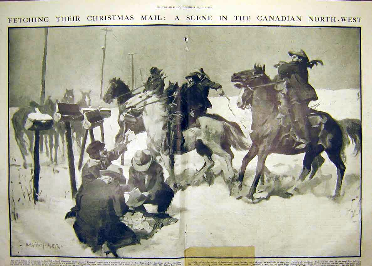 Print Christmas Mail Canada Pioneers Horse Ride Snow 1913 27Tddd0 Old Original
