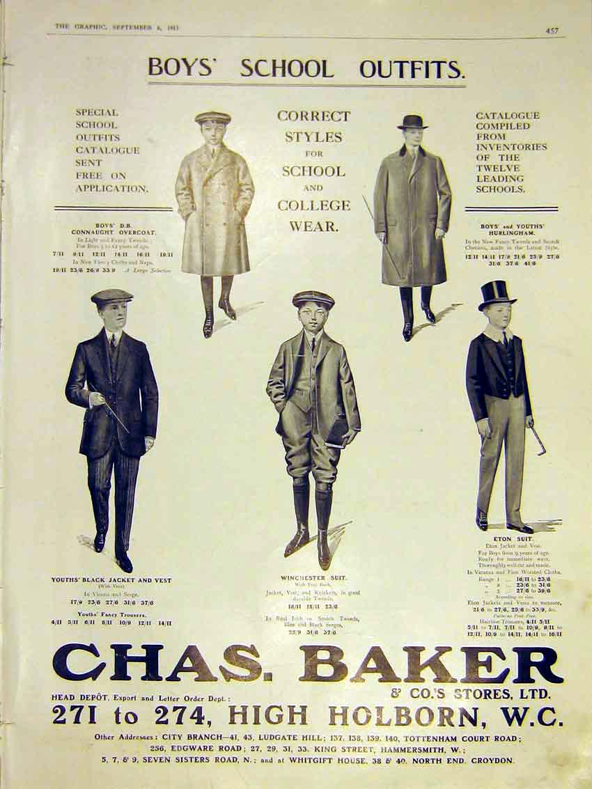 Print Advert Chas Baker Boys School Outfits Clothes 1913 57Ddd0 Old Original