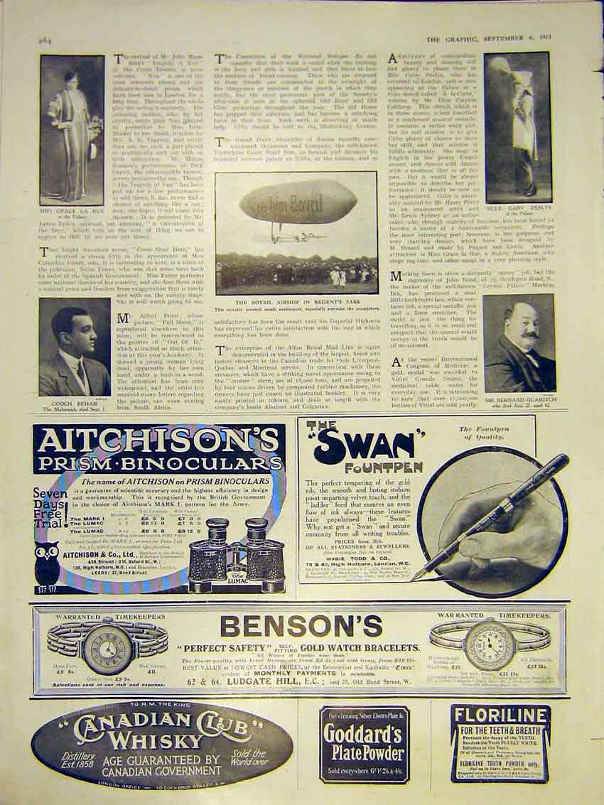 Print Advert Bovril Airship Portrait Rue Deslys Behar 1913 64Ddd0 Old Original