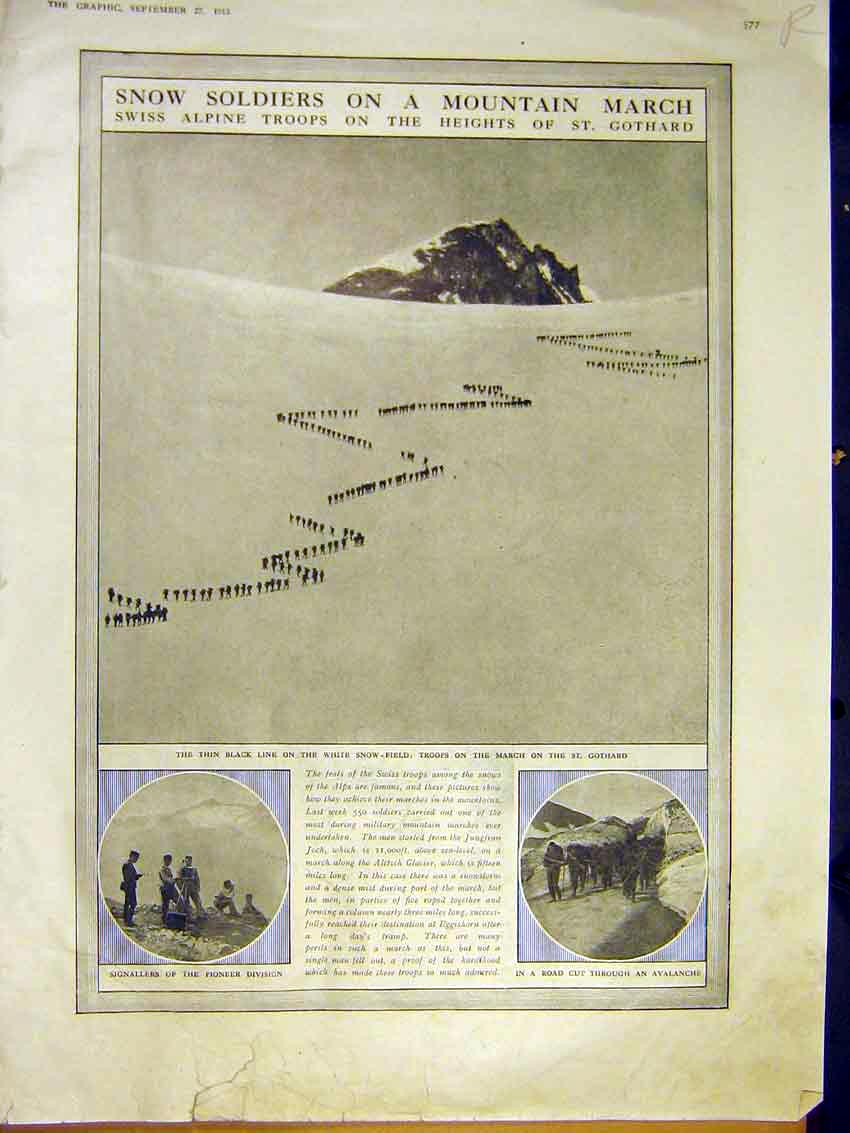 Print Soldier Mountain March Gothard Princess Immaculata 1913 77Rddd0 Old Original