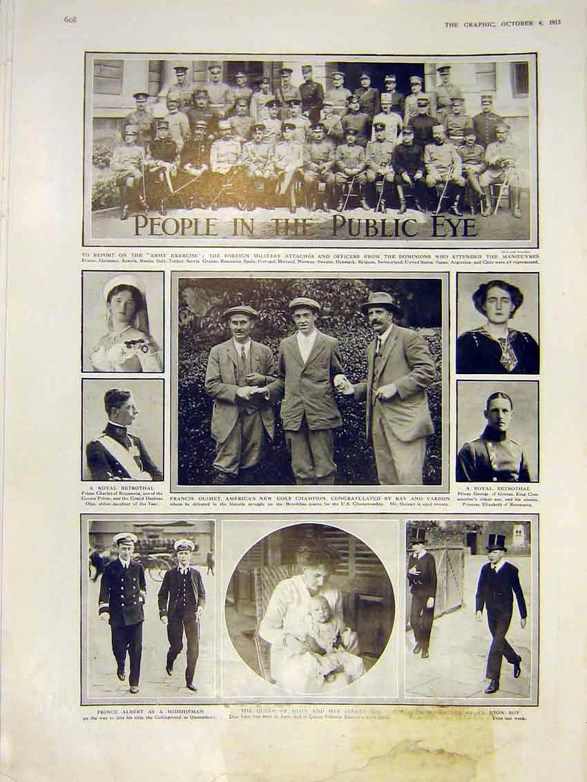 Print Foreign Military Attaches Golf Champion Oumet Usa 1913 08Ddd0 Old Original